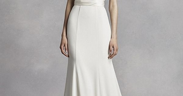White By Vera Wang High Neck Halter Crepe Sheath Gown