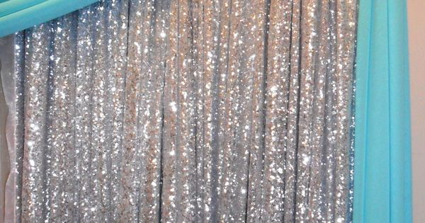 Silver Sequin Backdrop With Tiffany Blue Draping Http