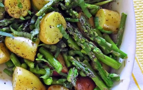 Roasted New Potatoes and Asparagus. food potatoes spring vegetables sides dinner
