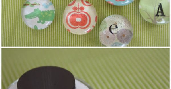 DIY magnets - glass pebbles, modge Podge scrapbook paper to the back