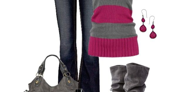 """Grey and Fuschia"" by kaseyofthefields on Polyvore - I want those shoes!!"