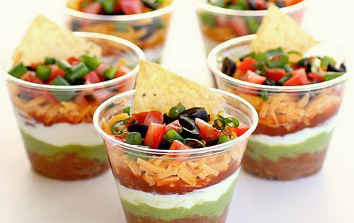 Taco Dip / Seven Layer Dip Cups : Appetizers in cups! Anything