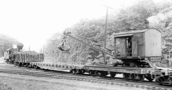 A work train on the Meadow River Lumber Company's railroad ...