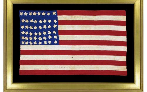 48 Star Hand Crocheted Antique Flag With Wonderful Patina Arizona Statehood Circa 1920 1950 Bonsell Americana Hand Crochet Flag Maker Flag