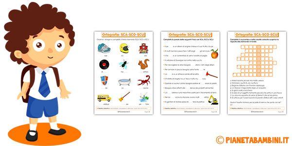 Schede didattiche su sca sco scu da stampare ortografia for Sce sci scuola primaria