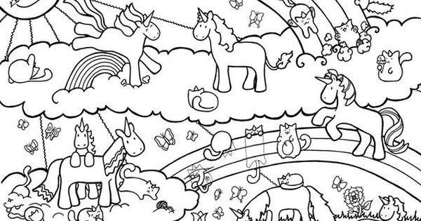 caticorn and unicorn coloring page