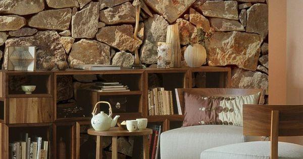 steinoptik wand dekosteine wand steinwand im wohnzimmer einrichtung und sowat pinterest. Black Bedroom Furniture Sets. Home Design Ideas