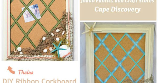 Create your own diy ribbon cork board the beach theme for Design your own cork board