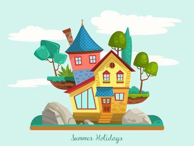 House Illustration Con Imagenes Casitas Hogar
