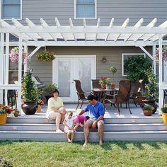 White Pergola With Light Gray Deck Steps Down To Yard Pergola Patio Outdoor Pergola Backyard Pergola