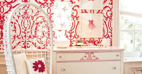 Little Girl's Room | Cute, Cute, Cute! Love the wallpaper and swing!