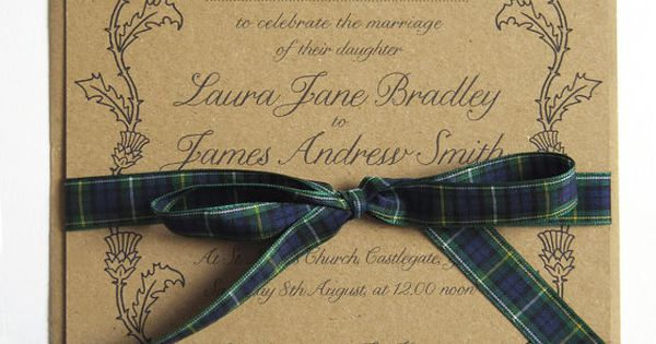 Wedding Invites Scotland: Scottish Thistle Wedding Invitation By STNstationery