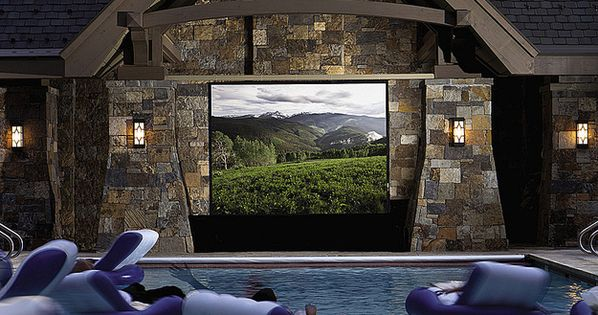 a swimming pool movie theater outdoor ideas pinterest