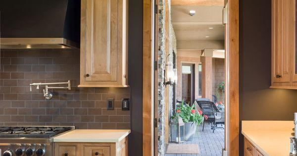 charcoal walls with natural maple Kitchen home