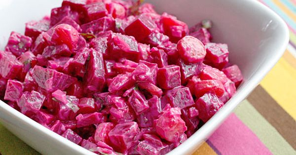 Red Beet Salad Red beets, cilantro, carrots, onion and mayonnaise, a perfect