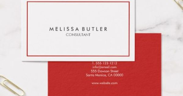 Minimalist Professional Red Business Card Minimalist Office
