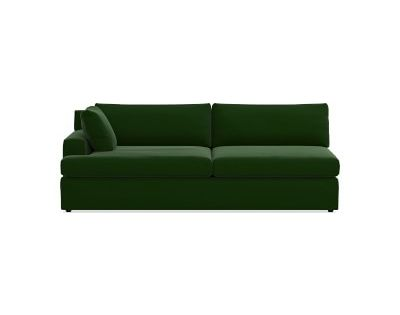 Greenwich Sectional Left One Arm Sofa Standard Cushion Signature Velvet Emerald U Shaped Sofa Bedding Shop L Shaped Sofa