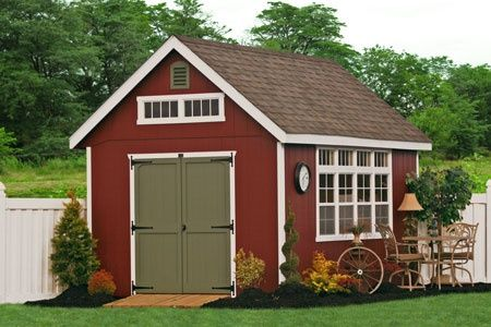 Barn Red Garden Shed With Avocado Green Door Sheds