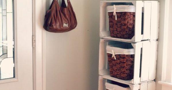 Wooden crate mudroom storage idea