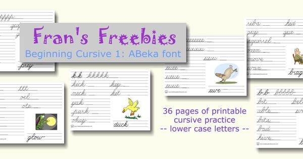 beginning cursive 1 abeka font free printables school pinterest font free cursive and. Black Bedroom Furniture Sets. Home Design Ideas