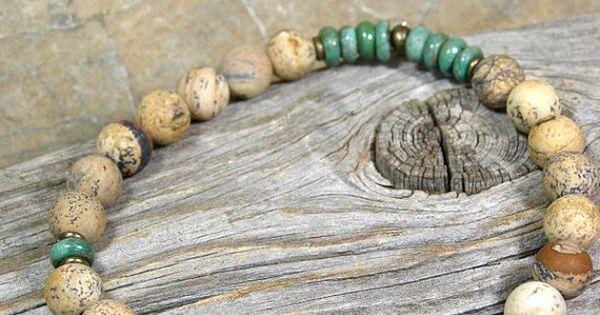 Mens Bracelet Turquoise Bracelet Matte by StoneWearDesigns, $42.00