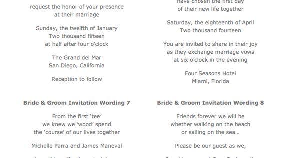 Wedding Invitations Wording Samples From Bride And Groom: Sample Wedding Invitation Wording From The Bride & Groom