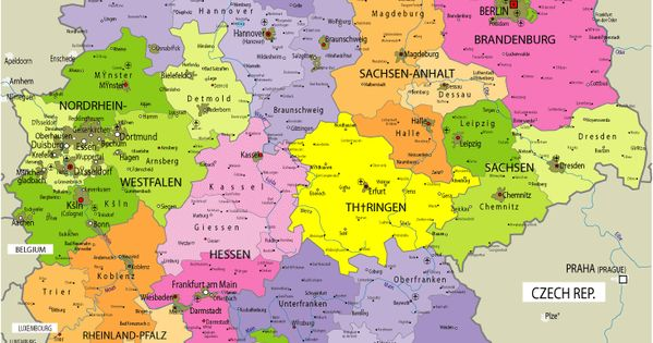 Map of Germany with Cities in English | Germany Map with ...