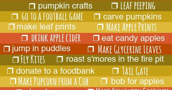 Fall Bucket List. I love fall; it's my favorite season.