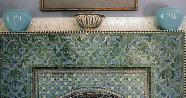 Moroccan Fireplace Green Aqua Blue Tile Interior Design