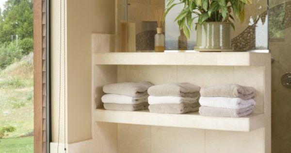Mooi idee voor handdoeken in de badkamer small bathroom kleine badkamer pinterest - Eigentijdse wastafelkast ...