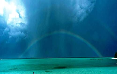 A beautiful rainbow after the rain, into the green zone of the