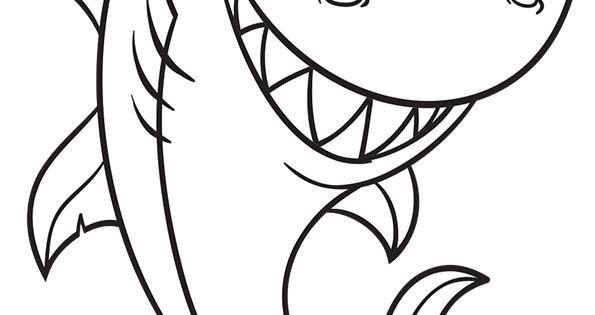 Coloriage pour enfants dessin d un requin terrifiant poissons animaux marins pinterest - Dessin requin facile ...