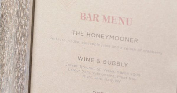 cute bar menu. We'll take The Honeymooner please! Photography by theweaverhouse.com, Wedding