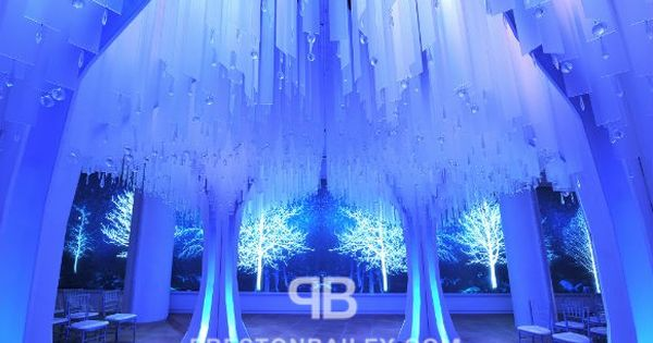 Falling Icy Blue Ceiling Decoration On Preston Bailey S Event Ideas Wedding Receptions