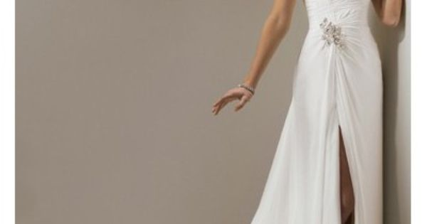 Chiffon Strapless Sheath informal Wedding Dress with Ruched Bodice $358.79