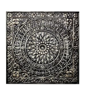 Amaryllis 36 In Square Metal Wall Decor In Metallic 80951 Metal