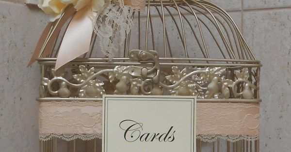 Champagne and Gold bird cage card holder