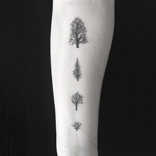 Four Little Trees Tree Tattoo Forearm Tree Tattoo Small Small Tattoos