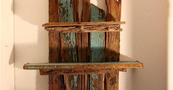 Driftwood shelves large drift wood wall sculpture for Driftwood wall shelves