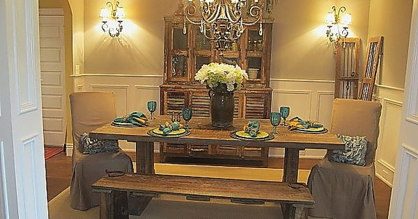Reclaimed barnwood table by jenny blalock luxe homes for Dining room tables knoxville tn