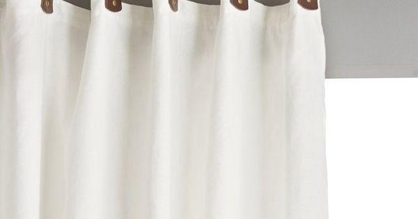 Rideau lin lav doubl passants cuir private am pm - Double rideaux en lin ...