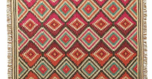 Meerkleurig gevlochten wollen acapulco tapijt 160 x 230 cm maisons du monde kot deco - Acapulco tapijt ...