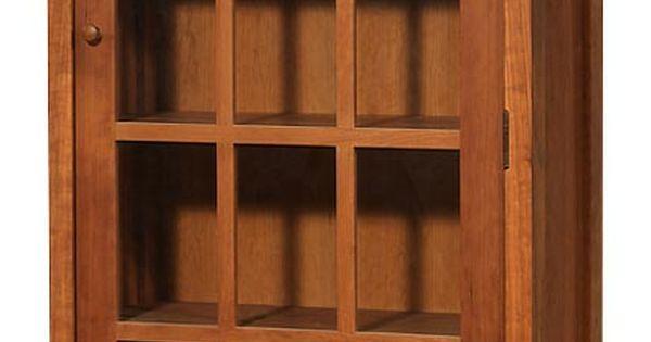 Modern shaker glass door bookcase in natural cherry wood for Eco friendly doors