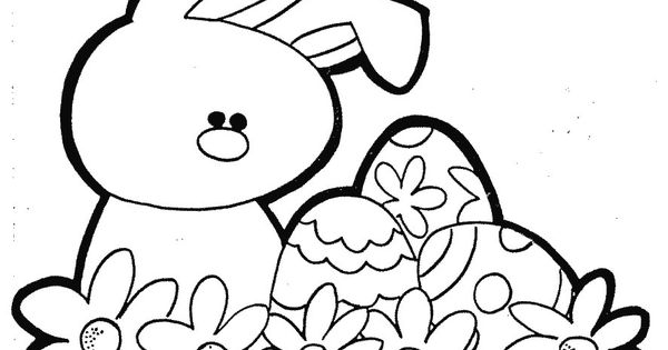 easter with a beautiful flower coloring page for kids