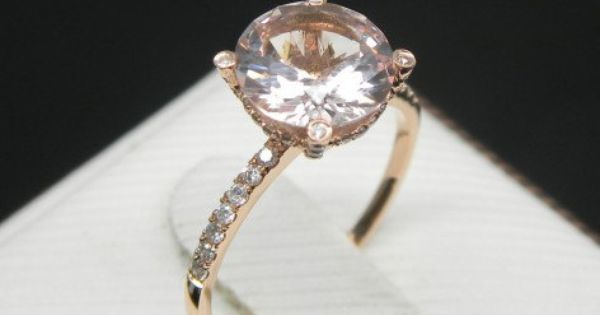 Engagement Ring 2 Carat Morganite Ring With Diamonds In 14K Rose Gold on Et