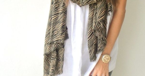 cute outfit with a scarf. Ardene white shirt.