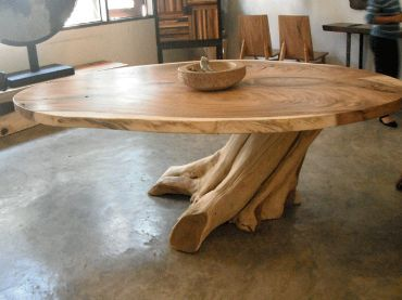Round Live Edge Table With Tree Trunk Base Large