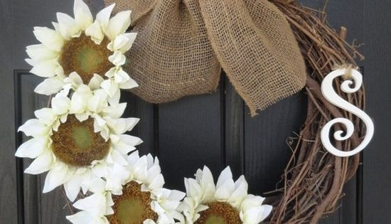 Sunflower and burlap ribbon wreath!!! My spring wreath!!!