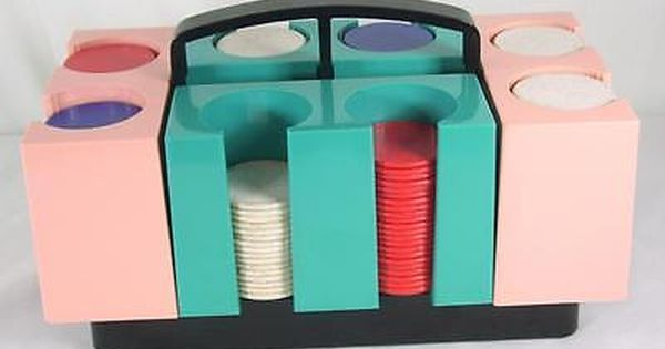 Vtg 1950s Denison Poker Chips Caddy Card Holder Aqua Pink Mid