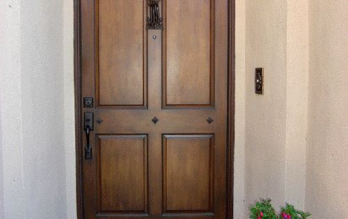 Faux wood painted exterior door patio pinterest for Faux wood front doors